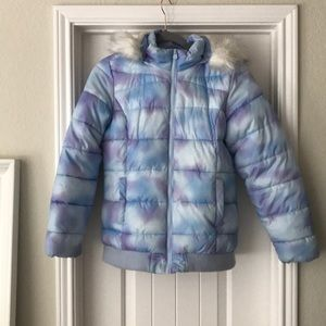 Girls puffy winter jacket with hood
